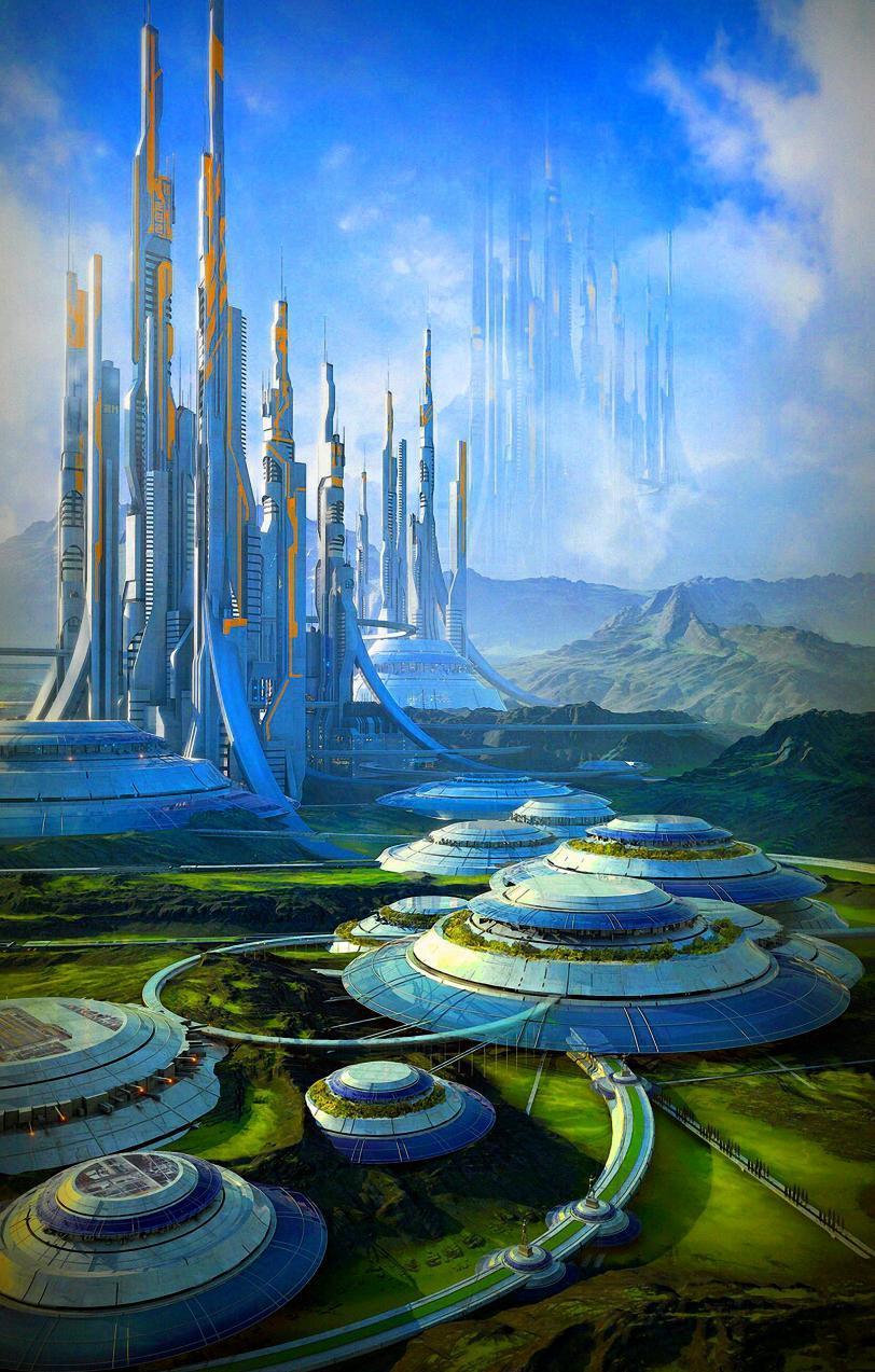 Арт Sci-fi город будущего