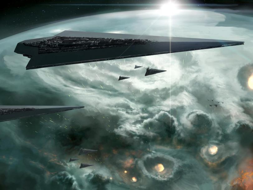 Красивые картинки Арт Star Wars орбитальная бомбардировка