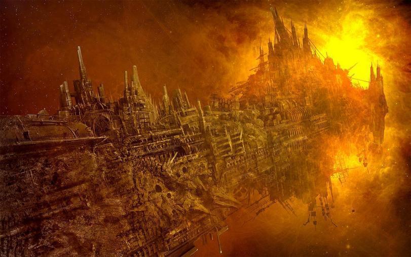 Арт Warhammer 40K Хаос warship