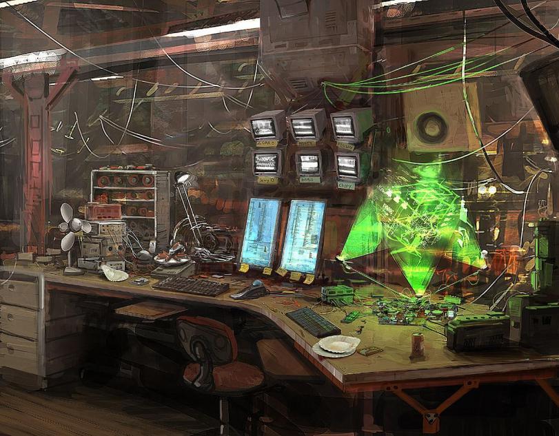 Красивые картинки Арт Sci-fi Cyberpunk Киберпанк рабочее место