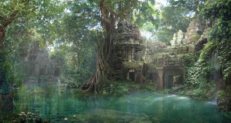 Красивые картинки Арт Природа развалины джунгли