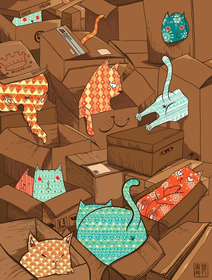 Красивые картинки Арт Котэ Коты и коробки
