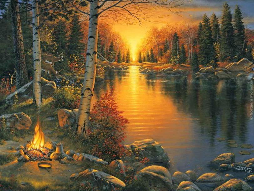 Красивые картинки Арт Природа река костёр
