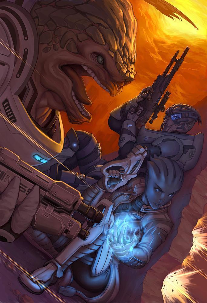 Красивые картинки Арт Mass Effect Shepard Grunt Liara
