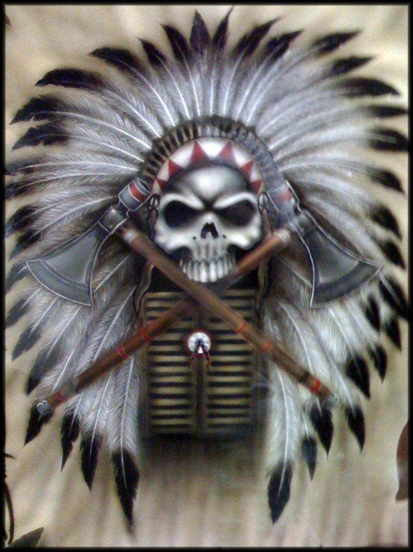 Красивые картинки Арт череп индейцы