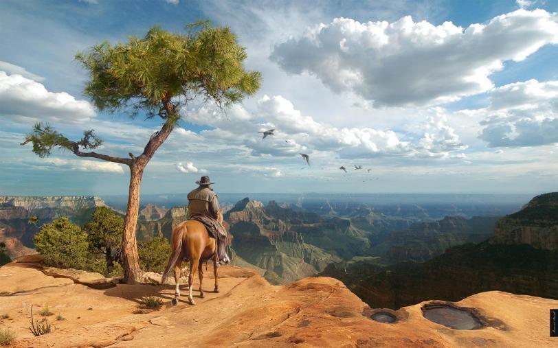Красивые картинки Арт вестерн ковбой каньон