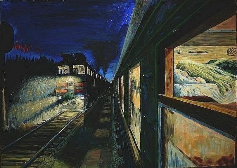 Красивые картинки Живопись тепло и лампово поезд