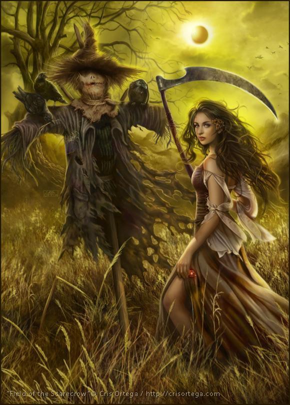 Красивые картинки Арт Девушка ведьма чучело