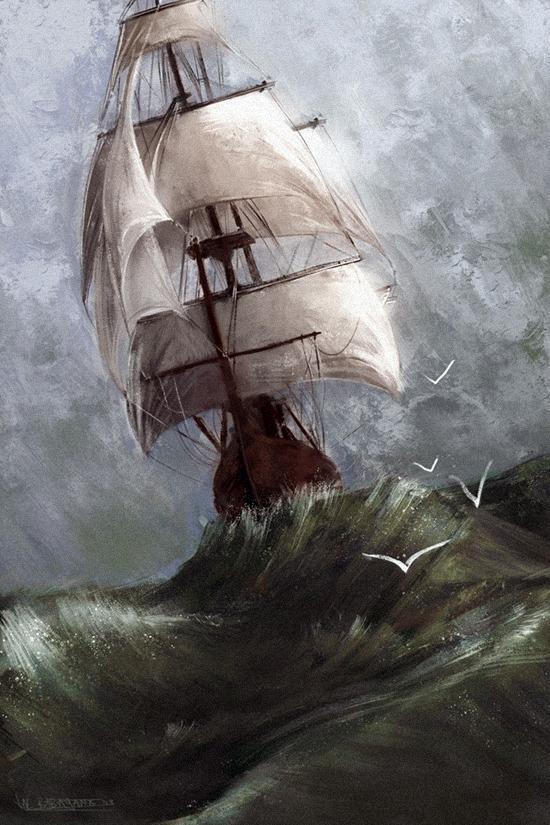 Красивые картинки Арт Корабль парусник море