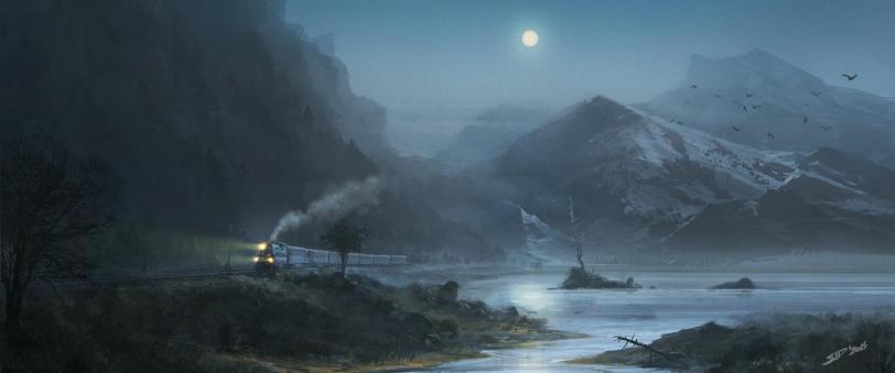 Арт Мрачные картинки поезд ночь