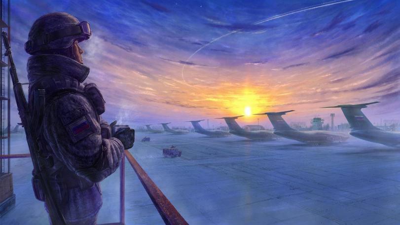 Красивые картинки Арт Техника утро аэродром