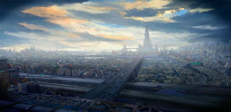 Арт Sci-fi город будущего Мрачные картинки