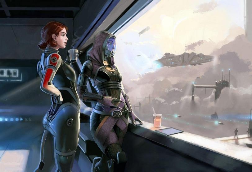 Красивые картинки Арт Sci-fi Mass Effect Shepard Tali FemShep