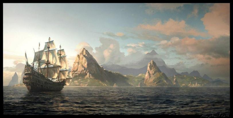 Красивые картинки Арт Корабль парусник море галеон