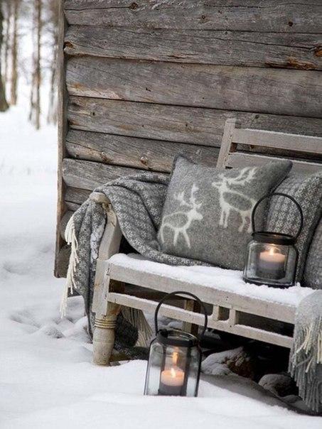 Пейзаж Зима снег домик в деревне