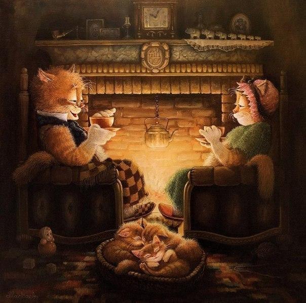 Красивые картинки Арт кот Милота уют семья