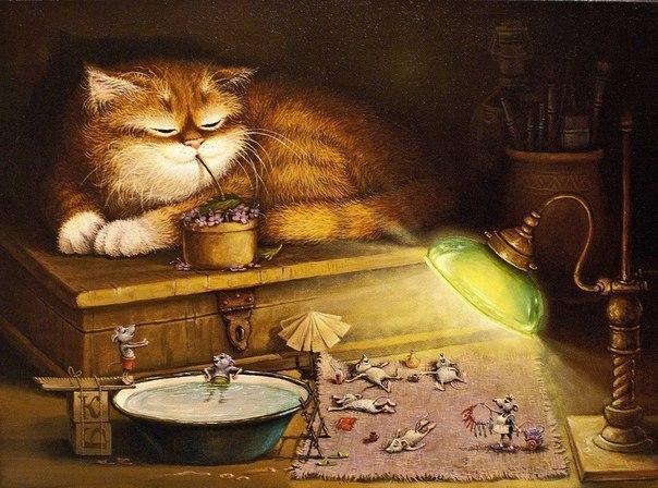 Красивые картинки Арт Котэ кот Милота уют мыши