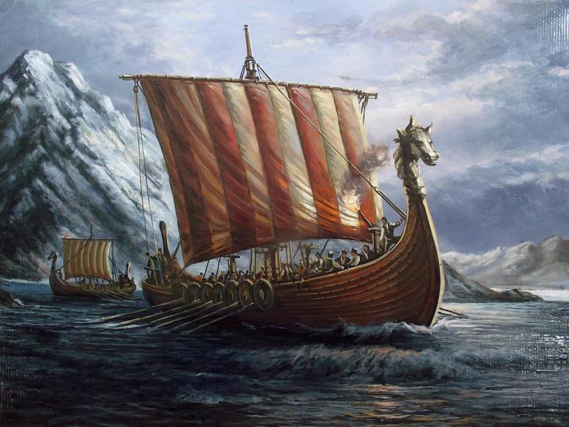 Красивые картинки Арт викинги драккар
