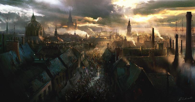 Арт Город Мрачные картинки Средневековье