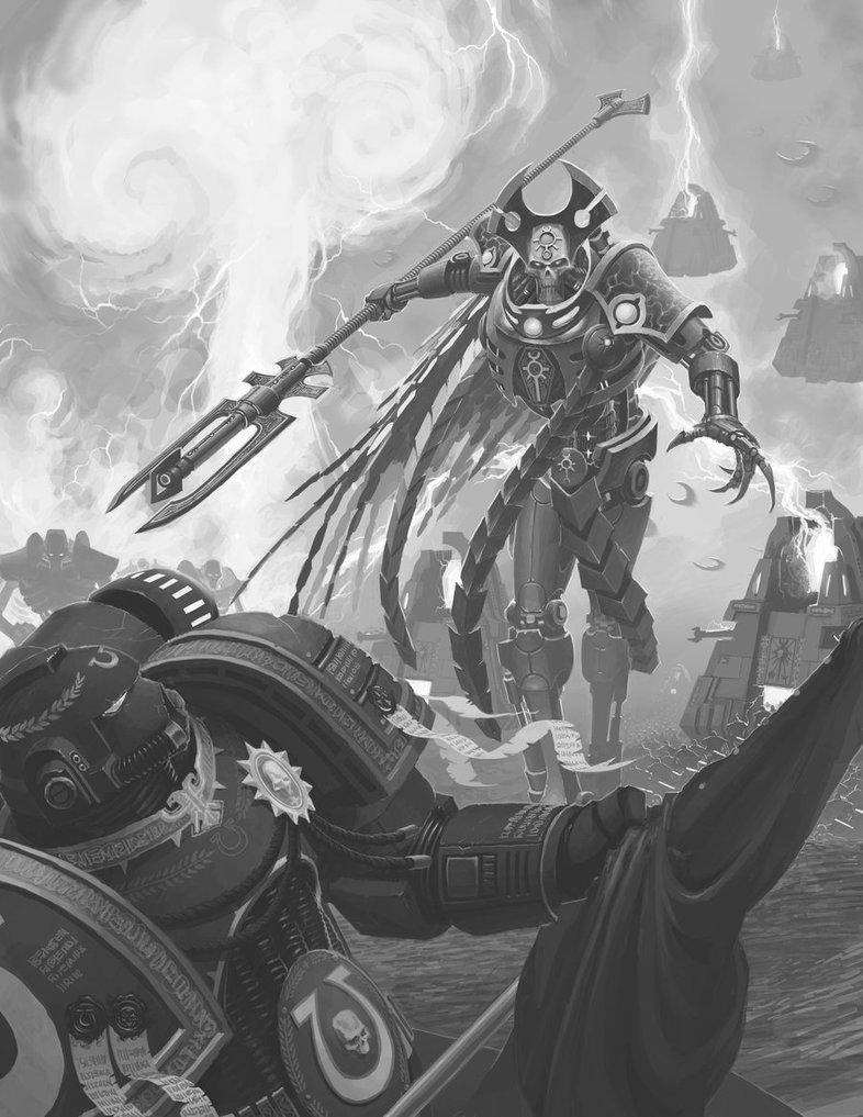 Красивые картинки Арт Warhammer 40K Necrons Некрон черно-белое