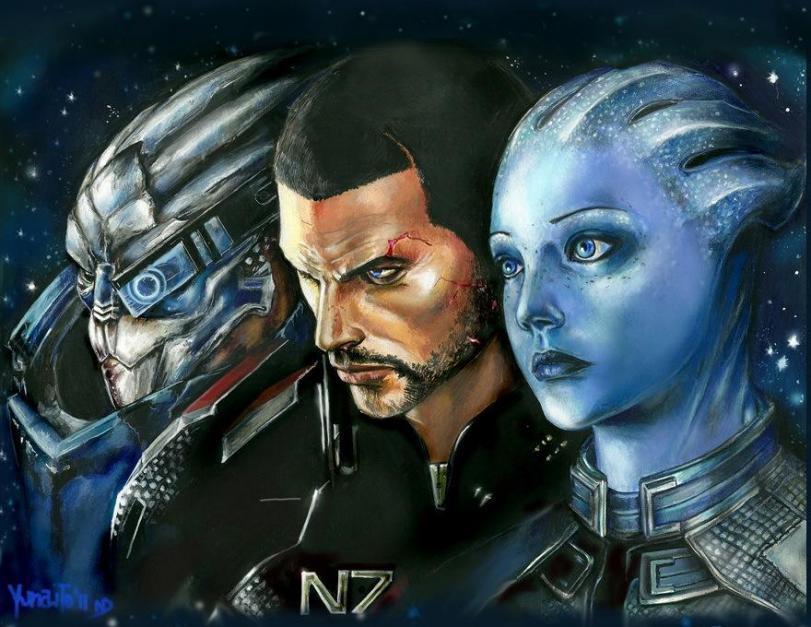 Красивые картинки Арт Sci-fi Mass Effect Shepard Garrus Liara
