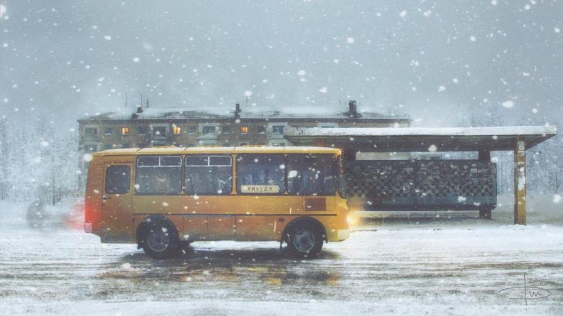 Арт Странные картинки автобус пустота