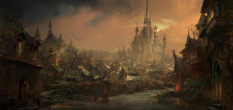 Арт Город Фэнтези замок Мрачные картинки