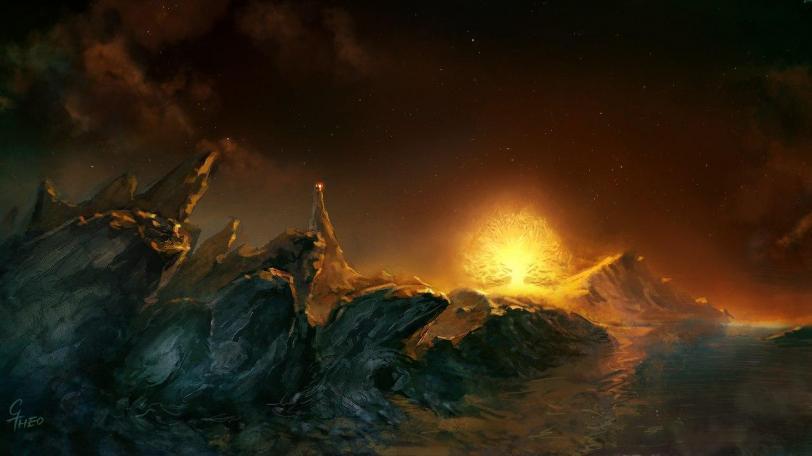 Арт Пейзаж Фэнтези дракон Вселенная Толкина