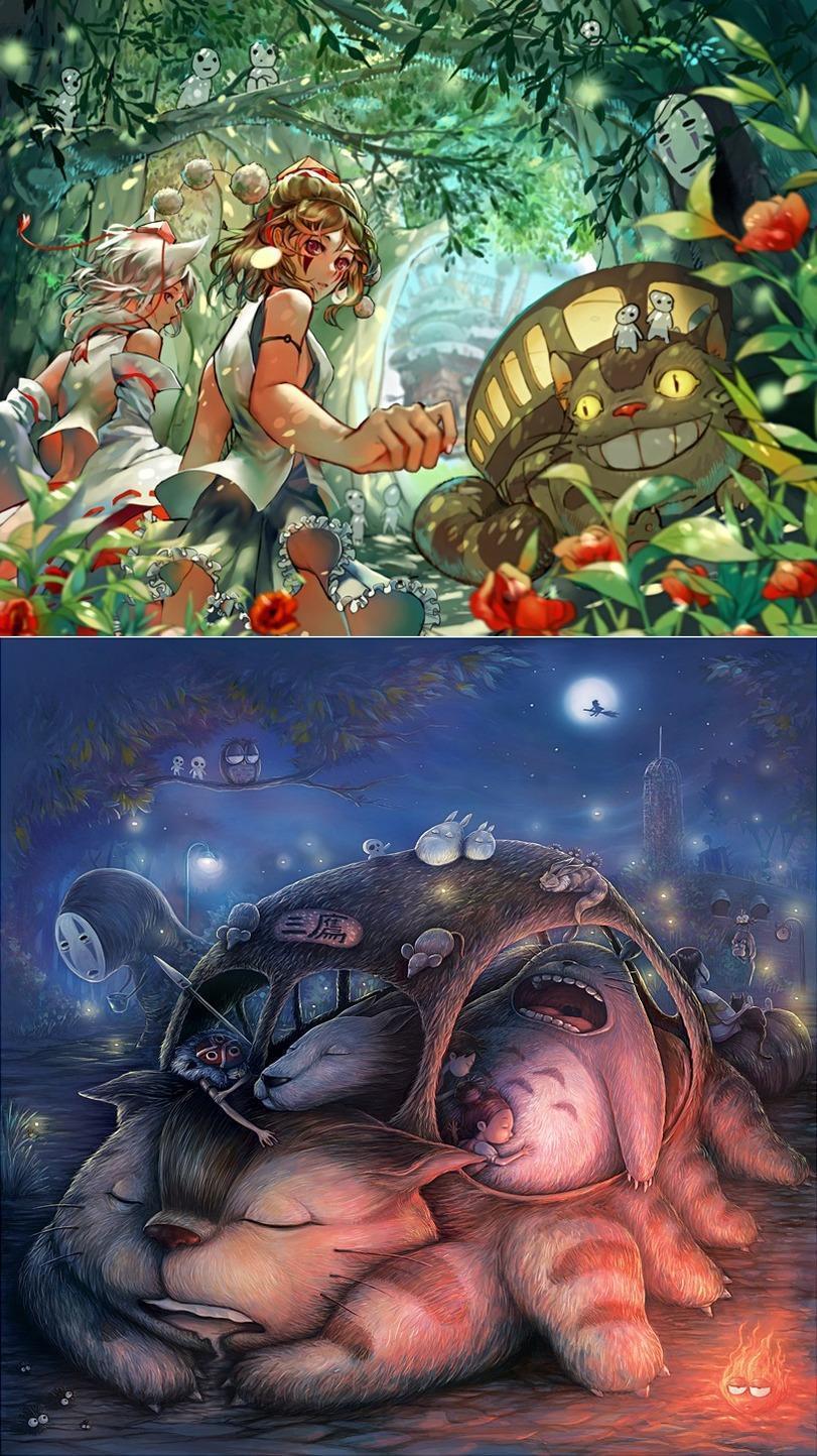 Красивые картинки Арт Милота Studio Ghibli Мой сосед Тоторо Котобус