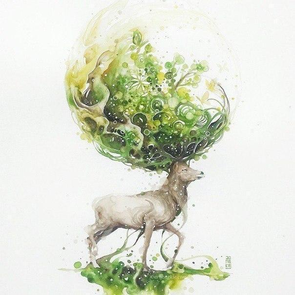 Красивые картинки Арт Олени возможно акварель
