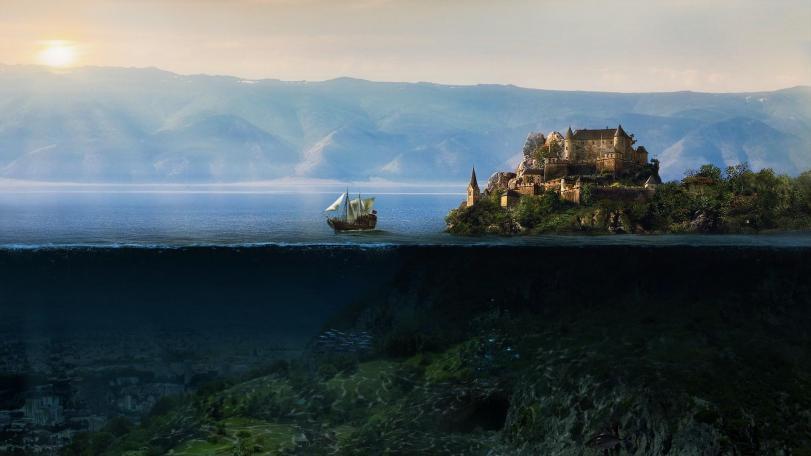 Красивые картинки Арт Обои Корабль замок