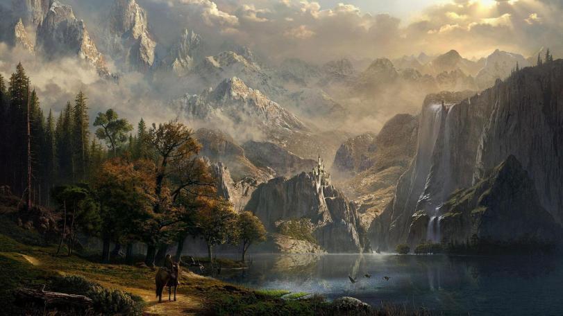 Красивые картинки Арт Природа озеро водопад