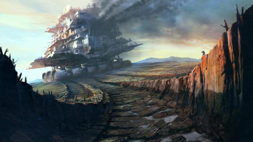 Красивые картинки Арт Sci-fi Город Опрокинутый Мир
