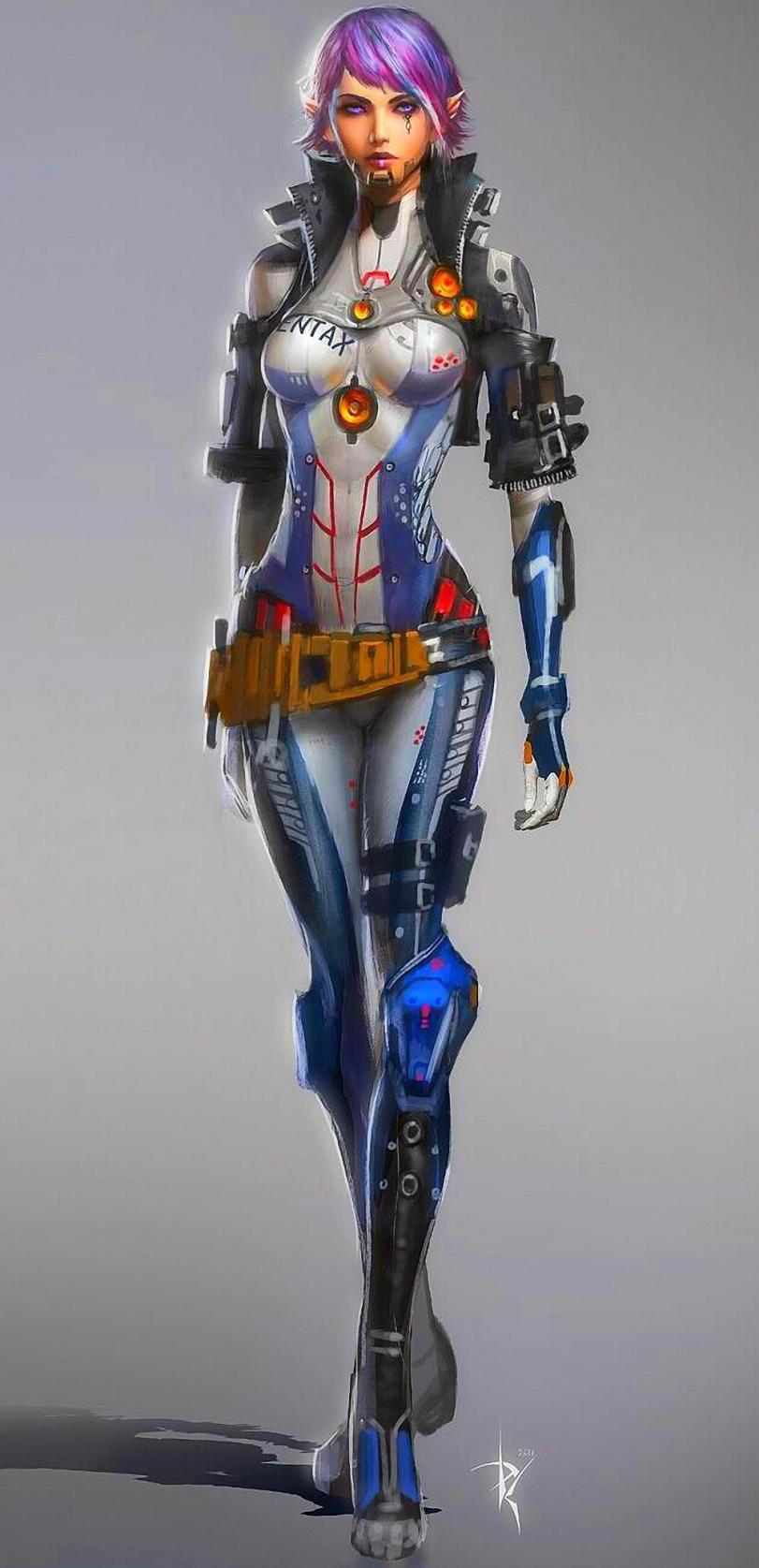 Красивые картинки Арт Sci-fi Cyberpunk Киберпанк Девушка