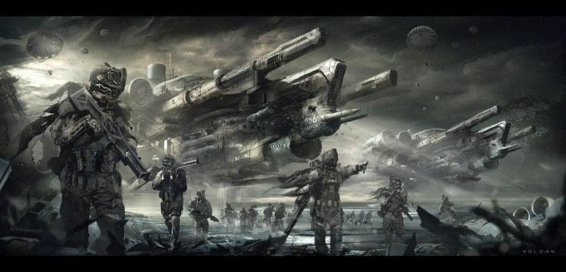 Арт Sci-fi Мрачные картинки солдаты
