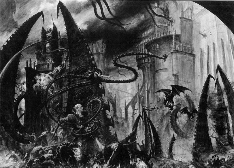 Арт Warhammer 40K Мрачные картинки черно-белое
