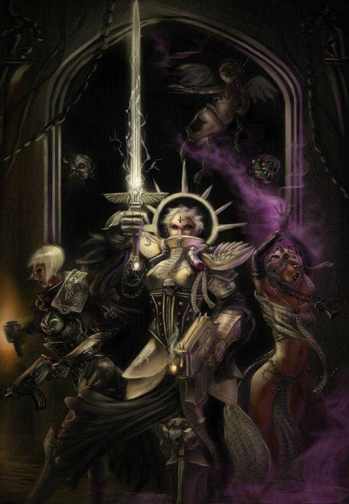 Арт Девушка Warhammer 40K Мрачные картинки Сёстры битвы