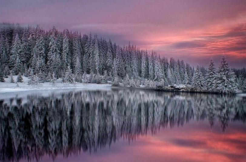 Пейзаж Зима снег