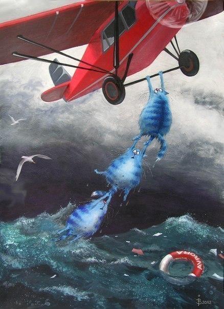 Красивые картинки Арт рисунок синие коты