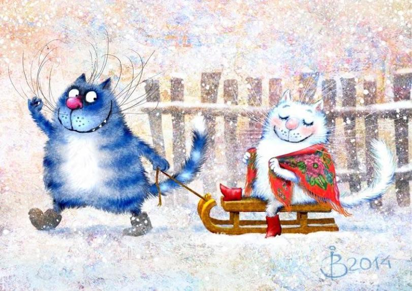 Красивые картинки Арт коты Живность рисунок кот Милота синие коты