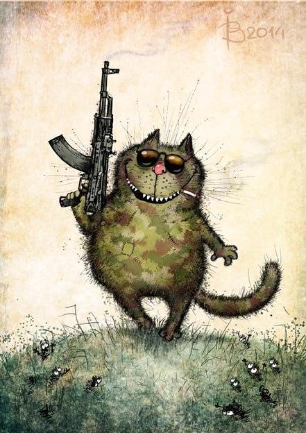 Красивые картинки Арт рисунок кот Милота синие коты камуфляж