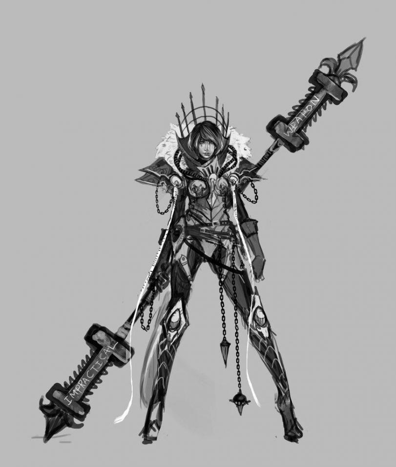 Красивые картинки Арт рисунок Девушка Warhammer 40K черно-белое