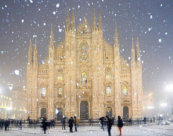 Красивые картинки Пейзаж Зима снег Италия