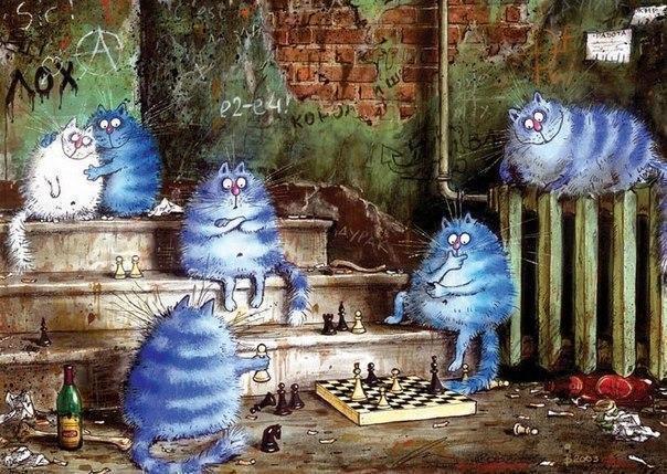 Красивые картинки Арт Котэ рисунок кот Милота синие коты Ирина Зенюк
