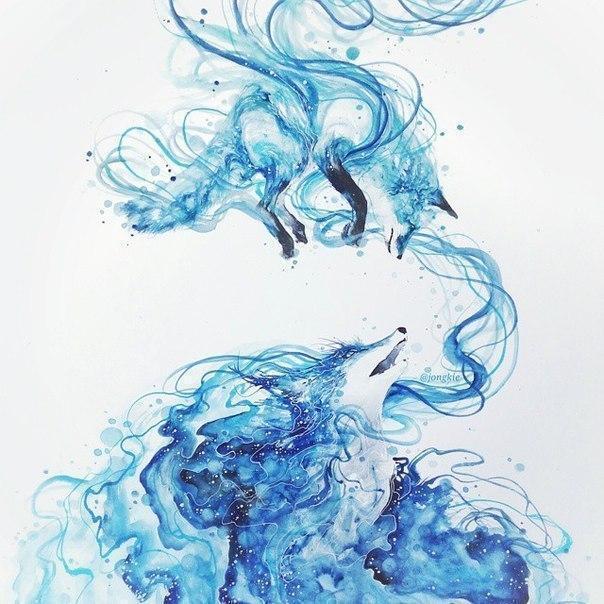 Красивые картинки Арт Лиса акварель
