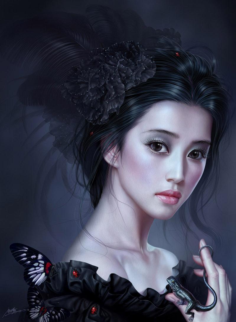 Красивое лицо Арт Красивые картинки Девушка азиатка