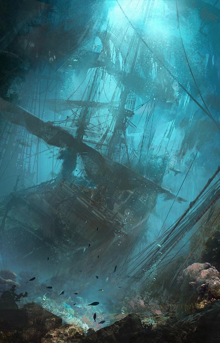 Арт Мрачные картинки затонувший корабль подводный мир