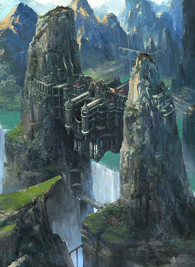 Арт Красивые картинки Фэнтези замок водопад Dongick Lee