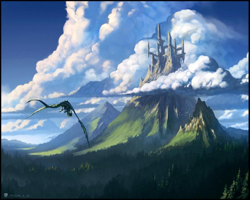 Todor Hristov Арт Фэнтези Красивые картинки Природа замок дракон hires