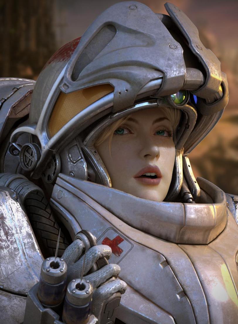 Арт Красивые картинки Scifi StarCraft2 medic